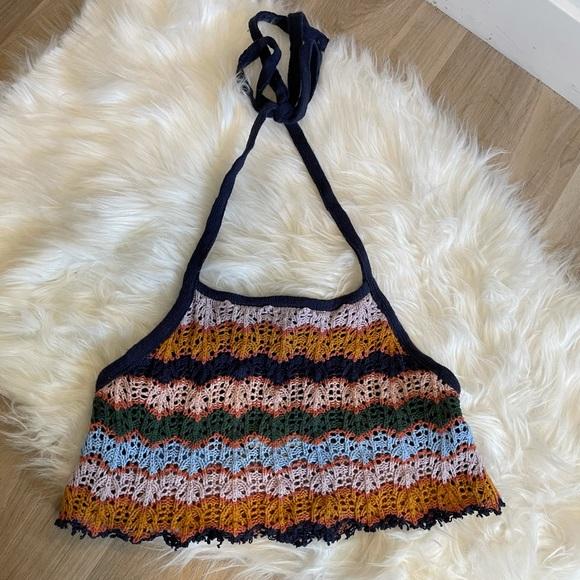 American Eagle Crochet Halter Crop Top